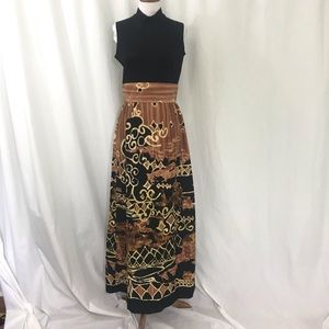 Tori Richard Black Brown Wthnic Print Maxi Dress M